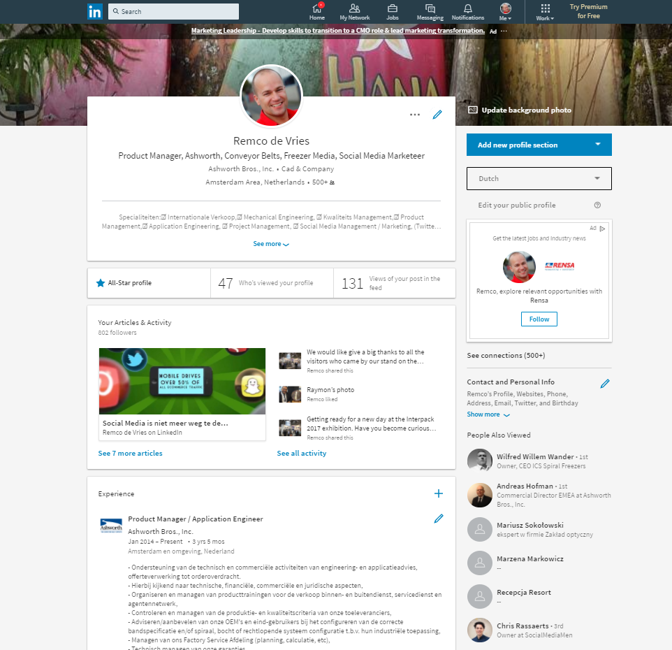 Linkedin Profiel 2017